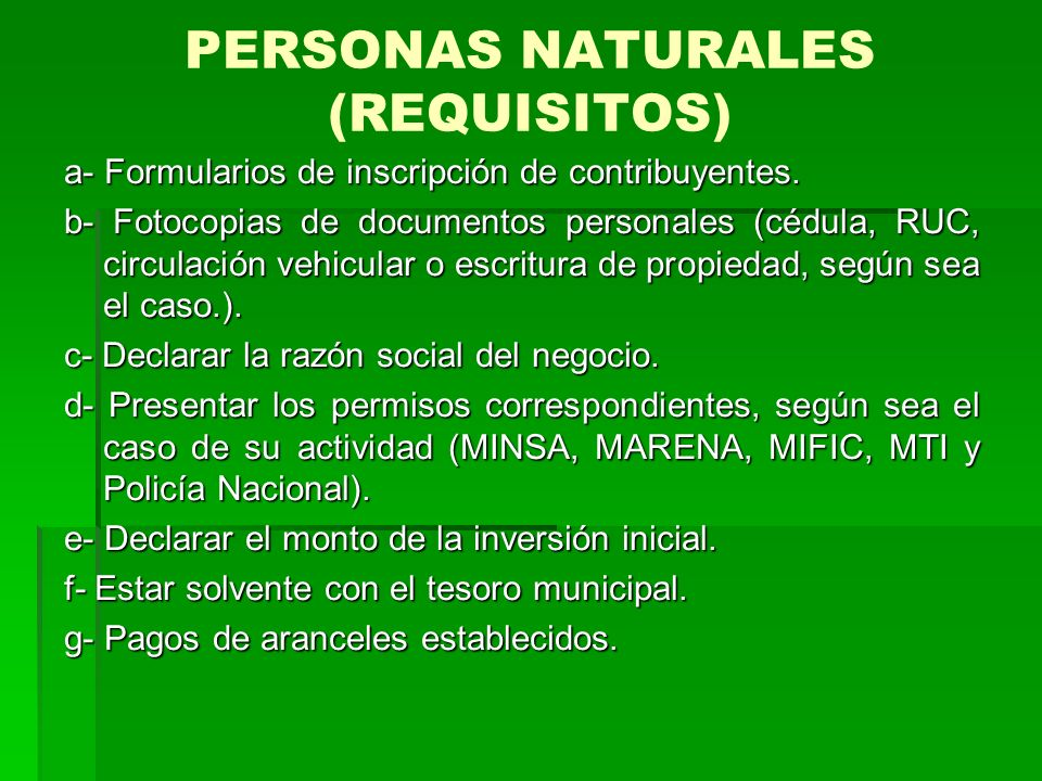 PERSONAS NATURALES (REQUISITOS)