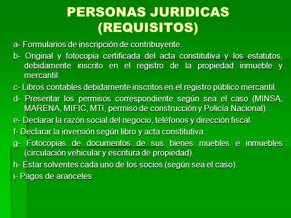 PERSONAS JURIDICAS (REQUISITOS)