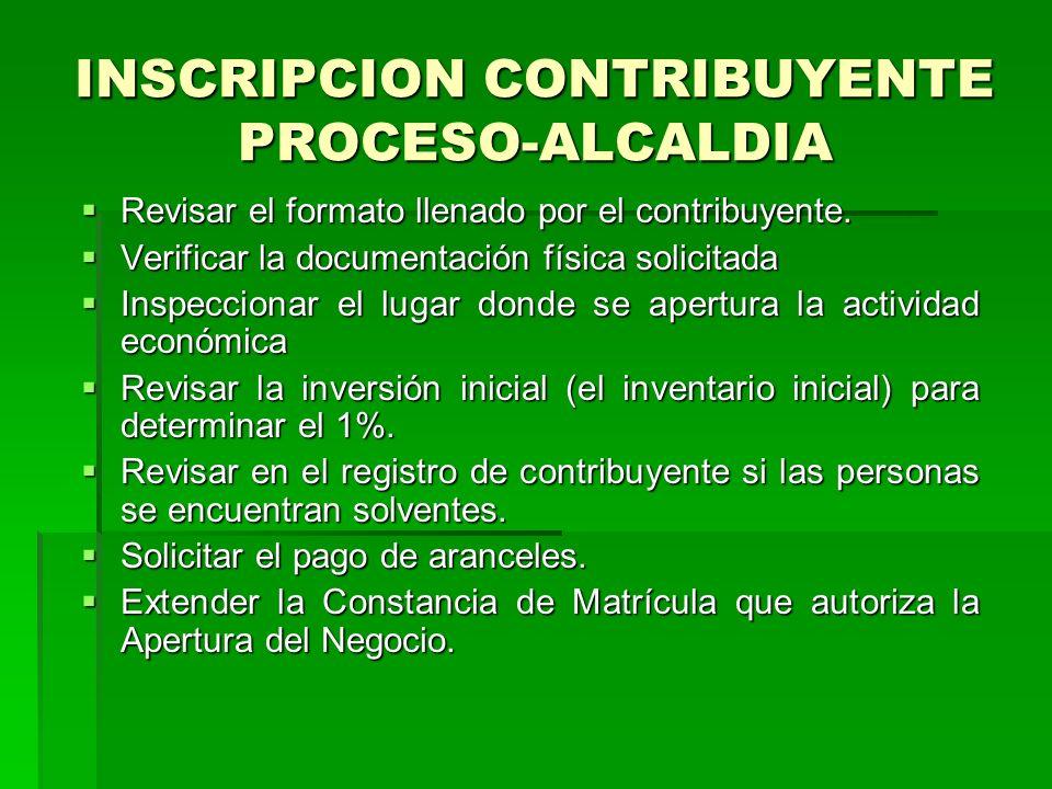 INSCRIPCION CONTRIBUYENTE PROCESO-ALCALDIA