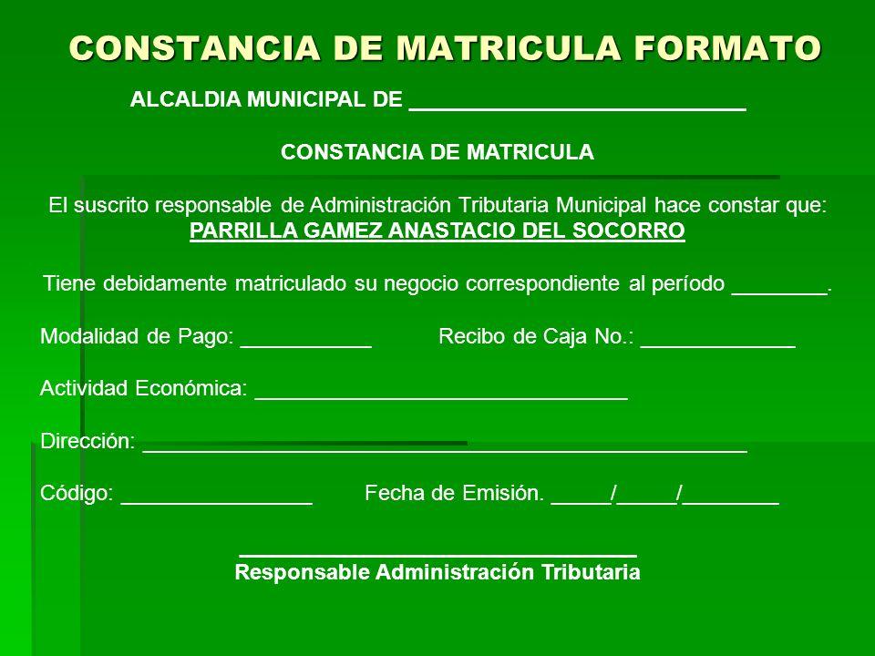 CONSTANCIA DE MATRICULA FORMATO
