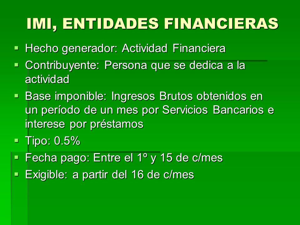 IMI, ENTIDADES FINANCIERAS