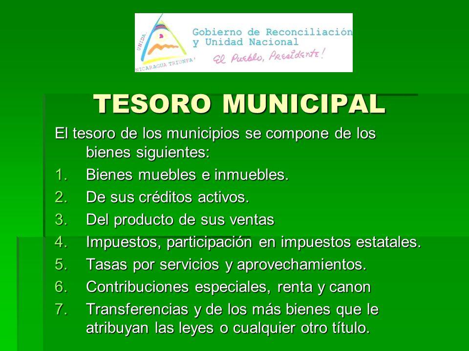 TESORO MUNICIPAL El tesoro de los municipios se compone de los bienes siguientes: Bienes muebles e inmuebles.