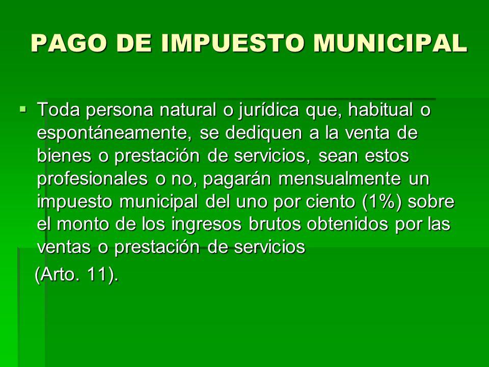 PAGO DE IMPUESTO MUNICIPAL