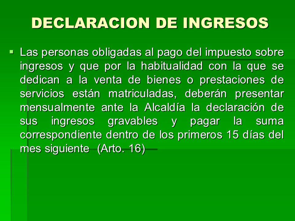 DECLARACION DE INGRESOS