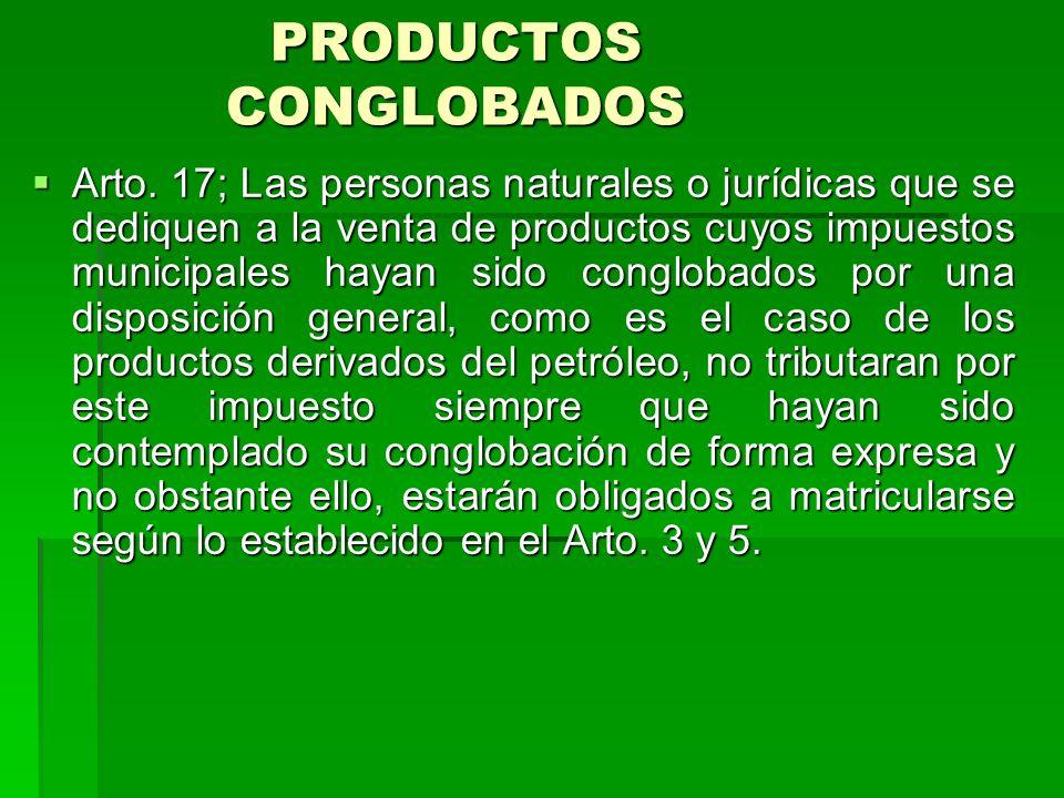 PRODUCTOS CONGLOBADOS