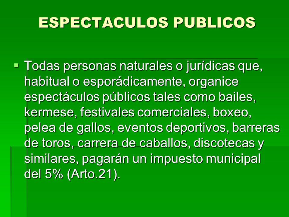 ESPECTACULOS PUBLICOS
