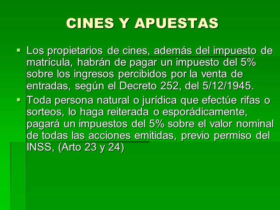 CINES Y APUESTAS