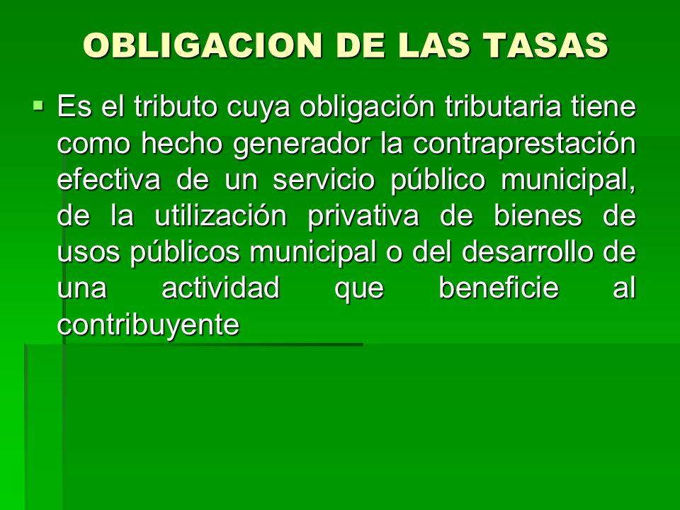 OBLIGACION DE LAS TASAS