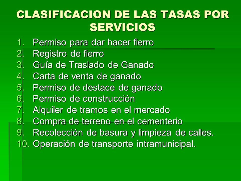 CLASIFICACION DE LAS TASAS POR SERVICIOS