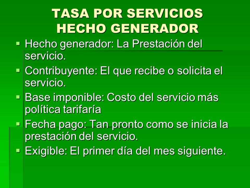 TASA POR SERVICIOS HECHO GENERADOR
