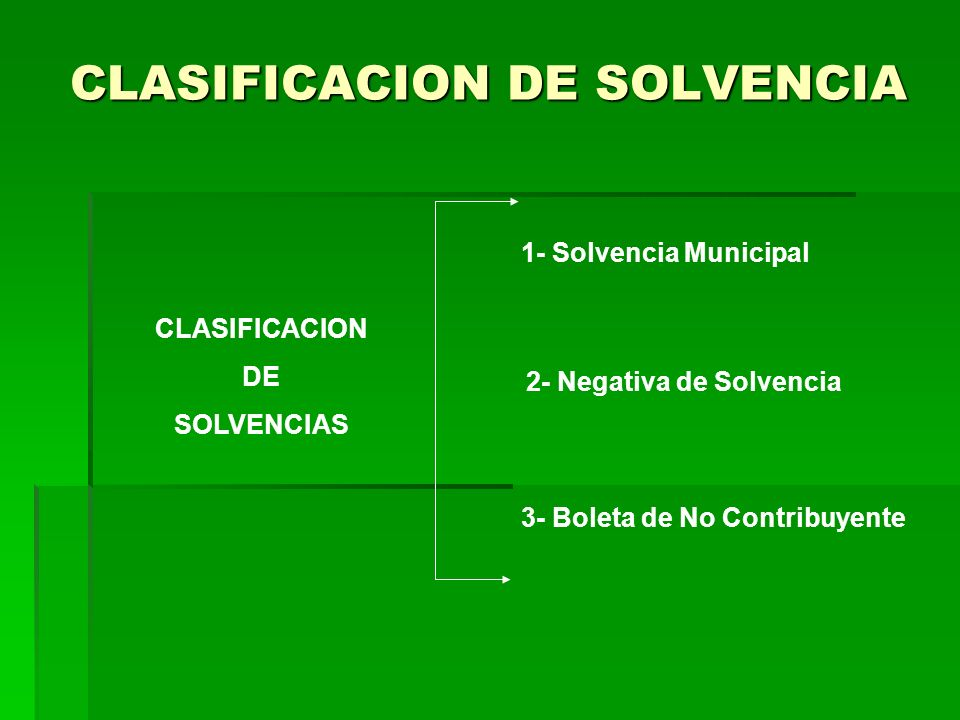CLASIFICACION DE SOLVENCIA