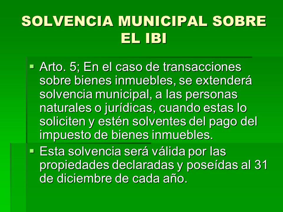 SOLVENCIA MUNICIPAL SOBRE EL IBI