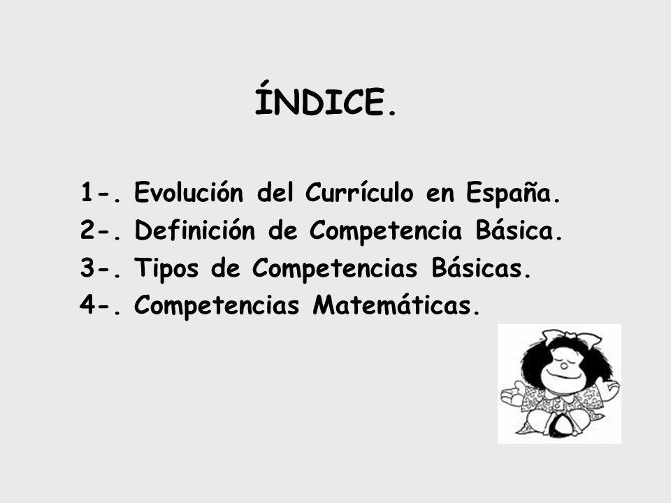 ÍNDICE. 1-. Evolución del Currículo en España.