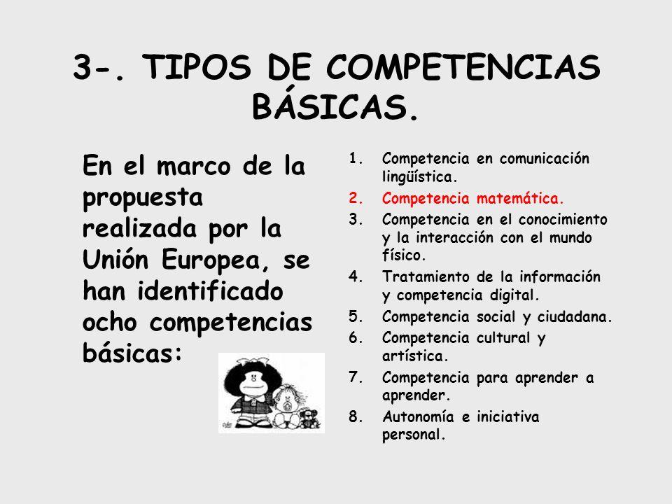 3-. TIPOS DE COMPETENCIAS BÁSICAS.