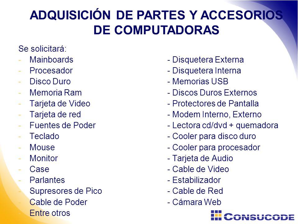 ADQUISICIÓN DE PARTES Y ACCESORIOS DE COMPUTADORAS