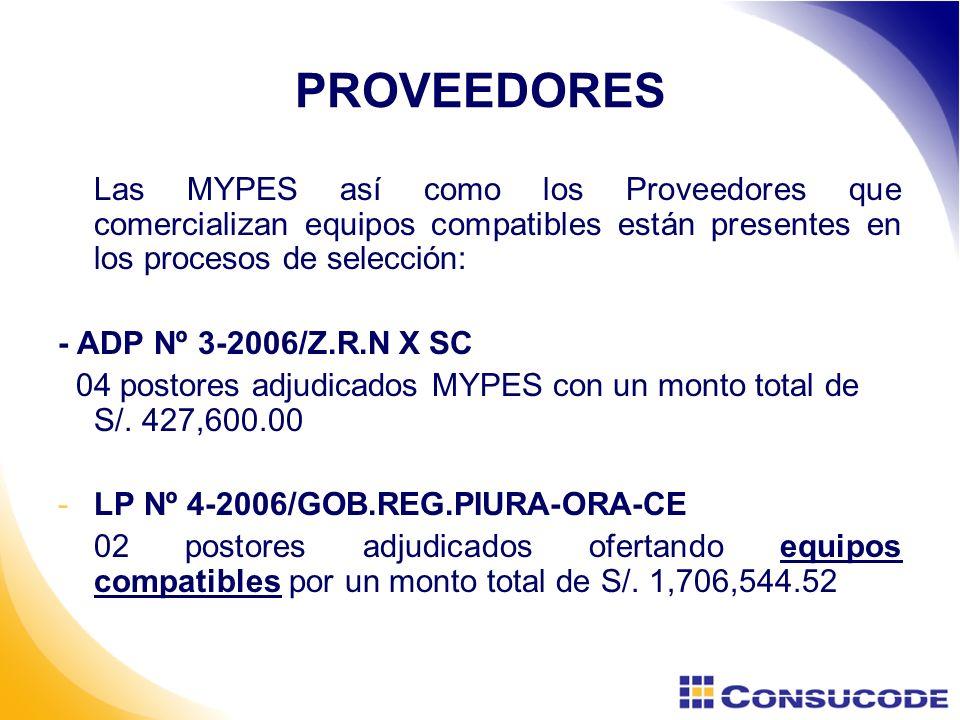 PROVEEDORES Las MYPES así como los Proveedores que comercializan equipos compatibles están presentes en los procesos de selección: