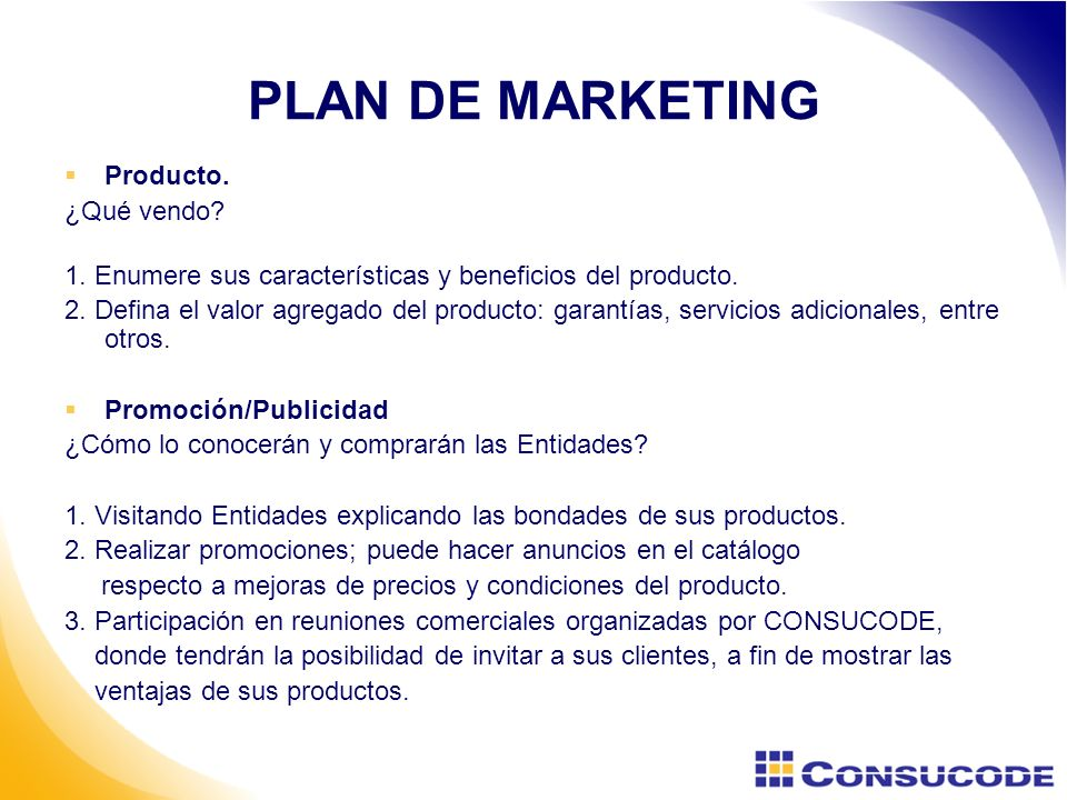 PLAN DE MARKETING Producto. ¿Qué vendo
