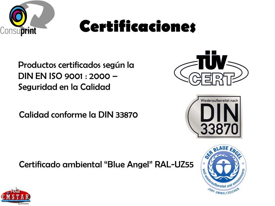 Certificaciones Productos certificados según la DIN EN ISO 9001 : 2000 – Seguridad en la Calidad. Calidad conforme la DIN 33870.