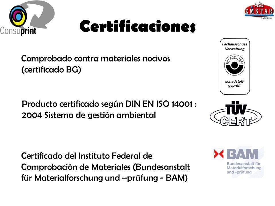 Certificaciones Comprobado contra materiales nocivos (certificado BG)