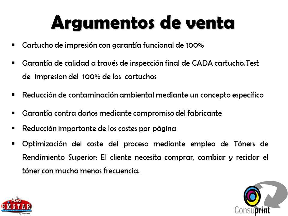 Argumentos de venta Cartucho de impresión con garantía funcional de 100%