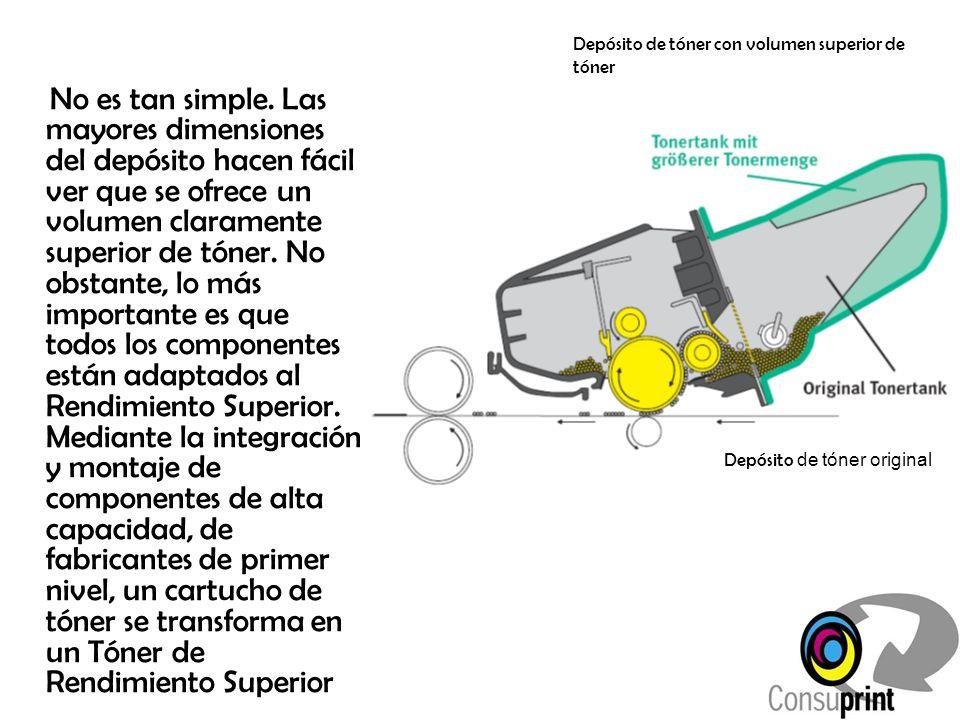 Depósito de tóner con volumen superior de tóner