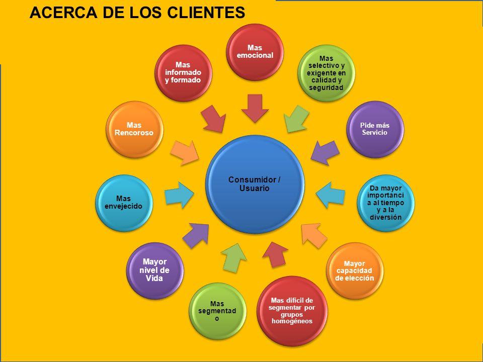 ACERCA DE LOS CLIENTES Consumidor / Usuario Mayor nivel de Vida