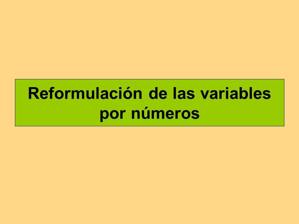 Reformulación de las variables por números