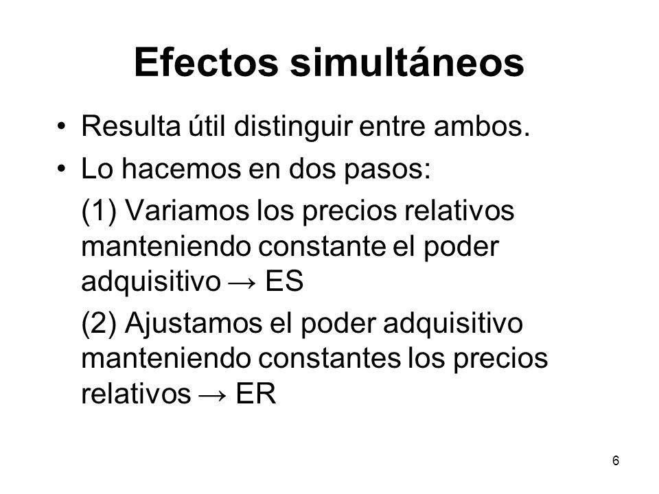 Efectos simultáneos Resulta útil distinguir entre ambos.