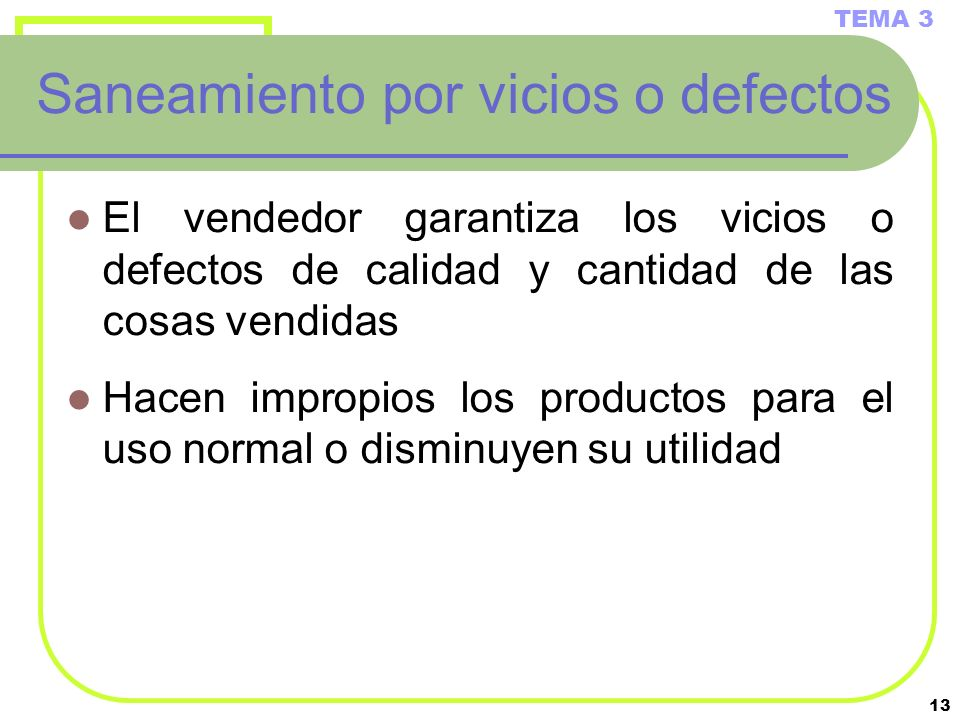 Saneamiento por vicios o defectos