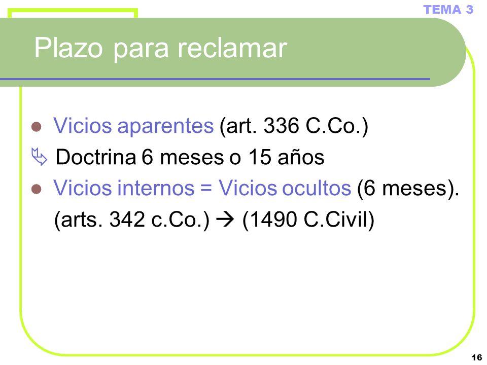 Plazo para reclamar Vicios aparentes (art. 336 C.Co.)