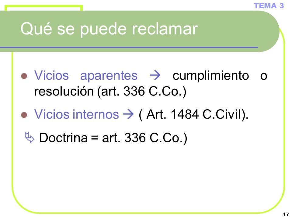 TEMA 3 Qué se puede reclamar. Vicios aparentes  cumplimiento o resolución (art. 336 C.Co.) Vicios internos  ( Art. 1484 C.Civil).
