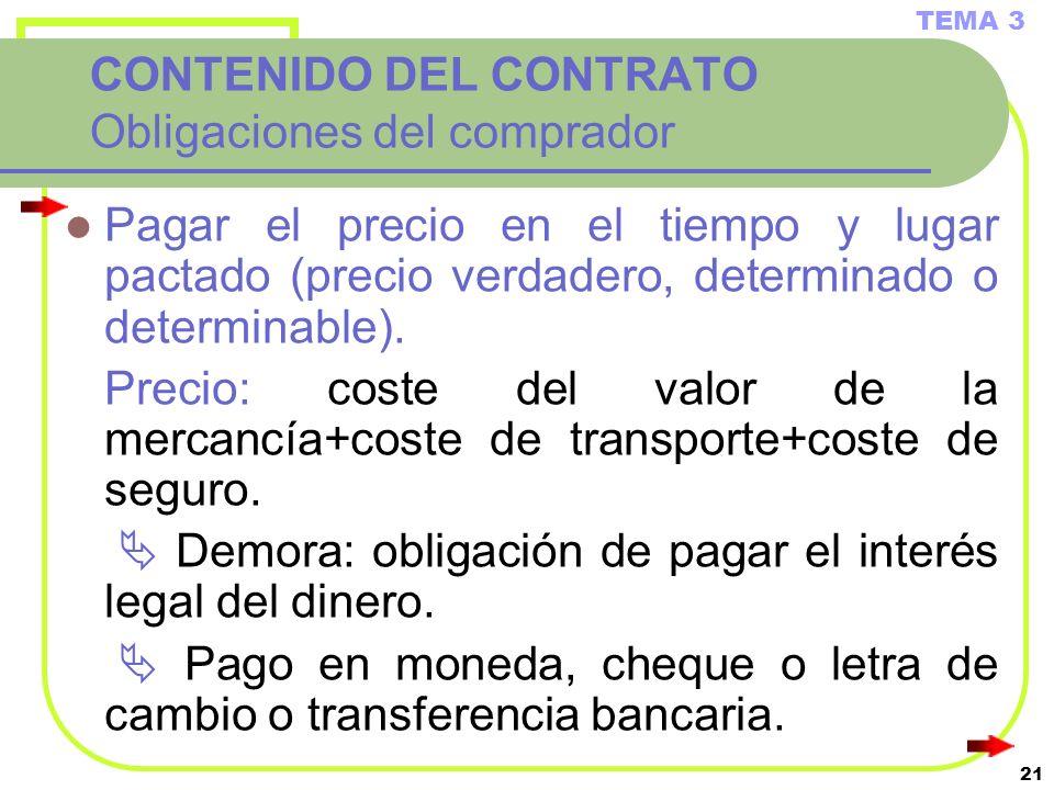 CONTENIDO DEL CONTRATO Obligaciones del comprador