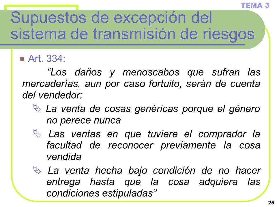 Supuestos de excepción del sistema de transmisión de riesgos