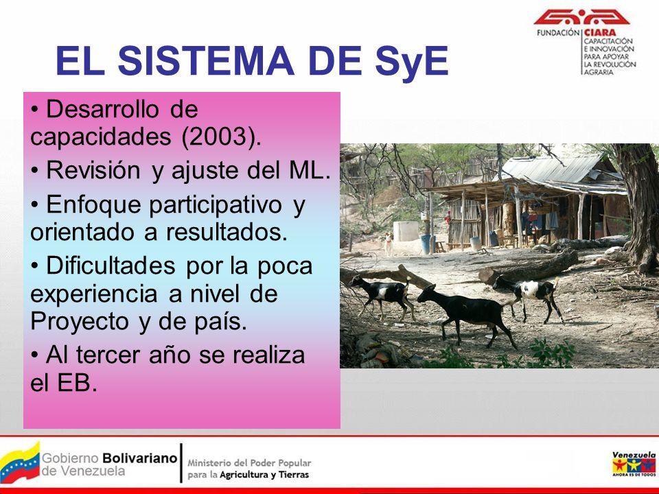 EL SISTEMA DE SyE Desarrollo de capacidades (2003).