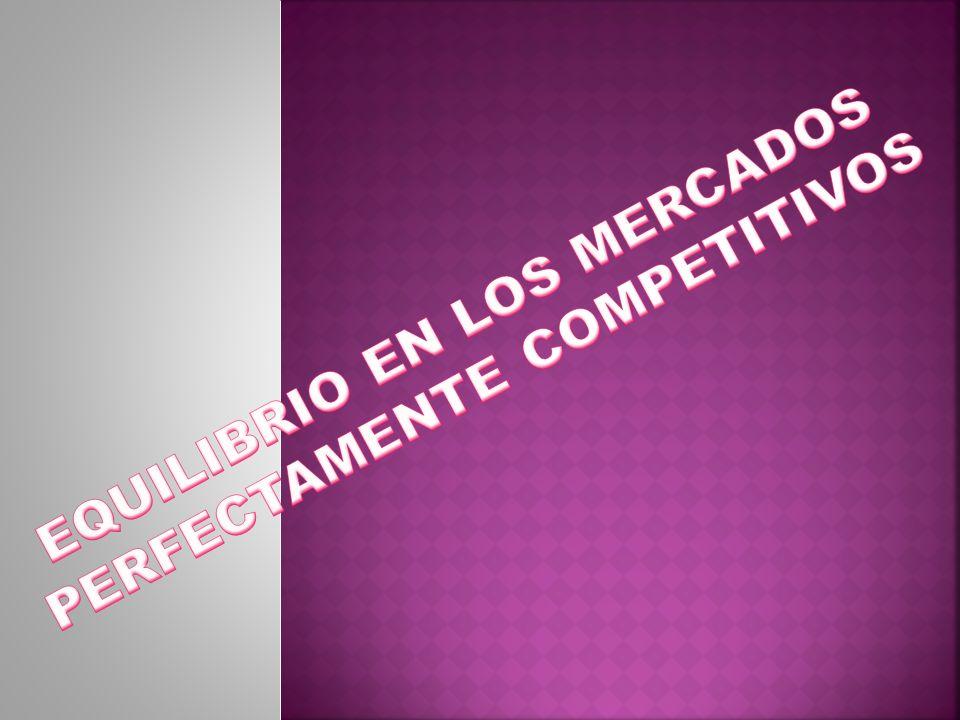 EQUILIBRIO EN LOS MERCADOS PERFECTAMENTE COMPETITIVOS