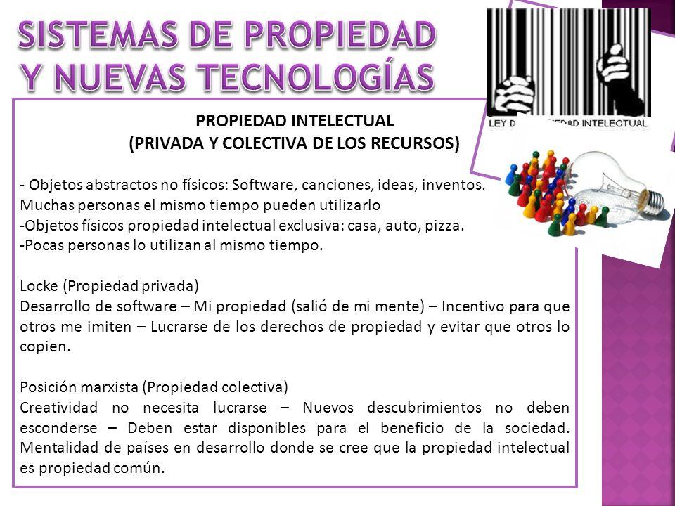 SISTEMAS DE PROPIEDAD Y NUEVAS TECNOLOGÍAS