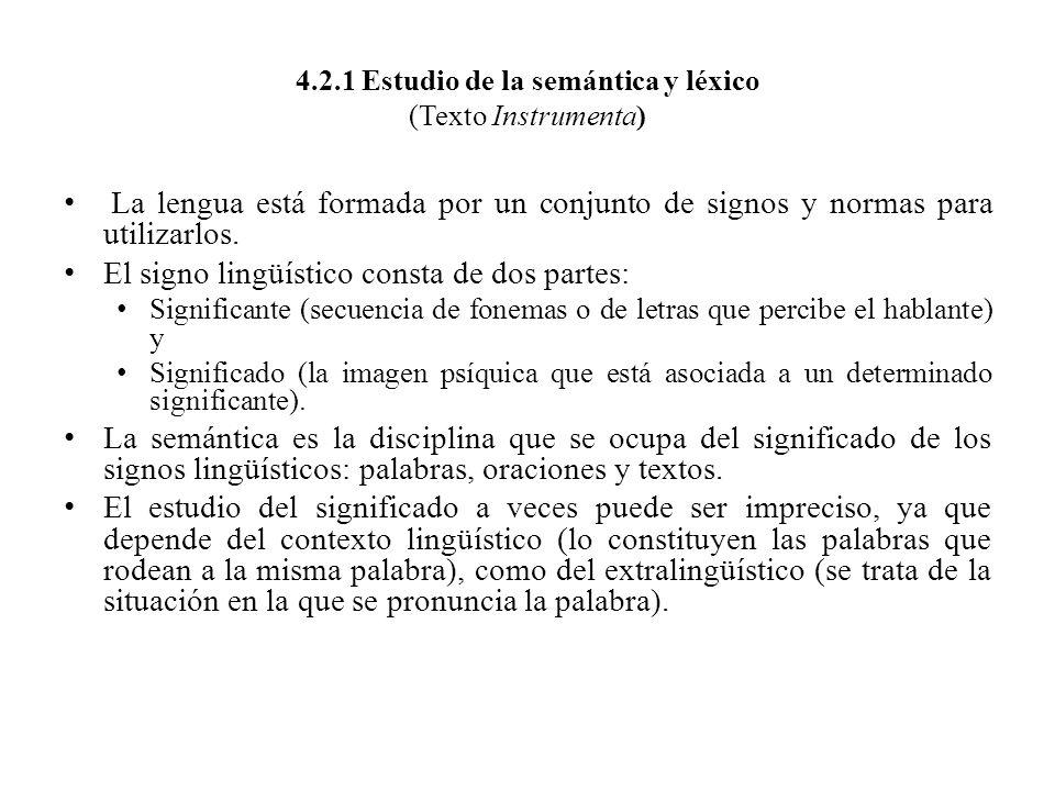 4.2.1 Estudio de la semántica y léxico (Texto Instrumenta)