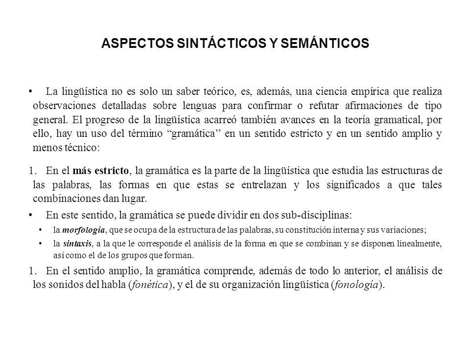 ASPECTOS SINTÁCTICOS Y SEMÁNTICOS