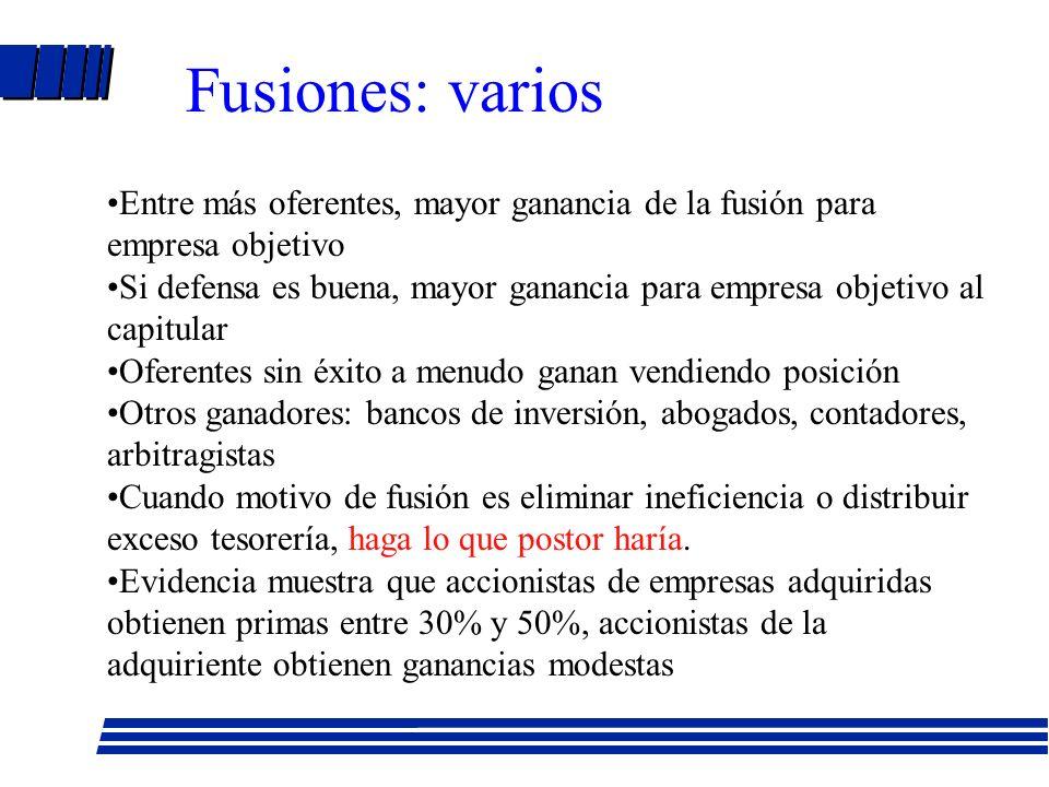 Fusiones: varios Entre más oferentes, mayor ganancia de la fusión para empresa objetivo.