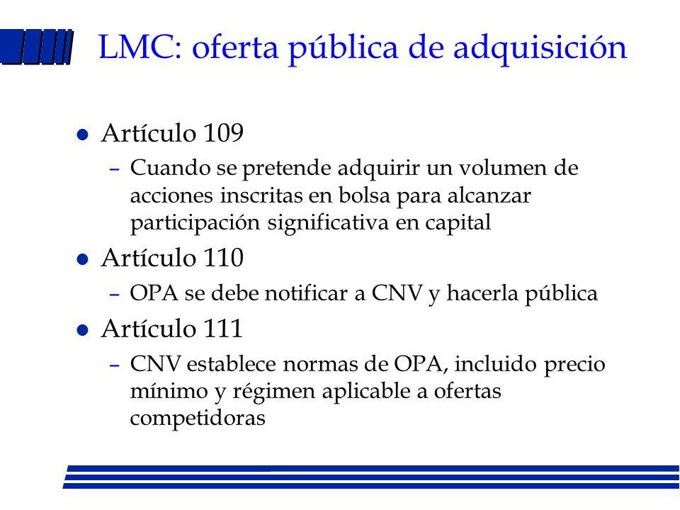 LMC: oferta pública de adquisición