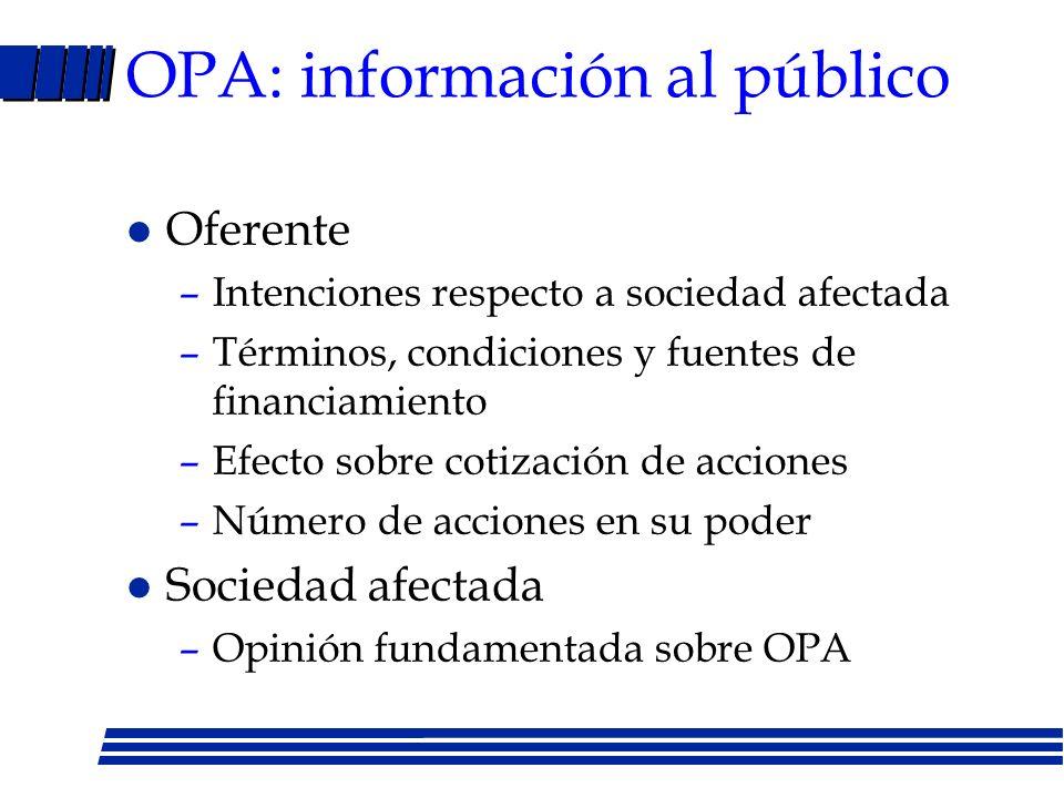 OPA: información al público