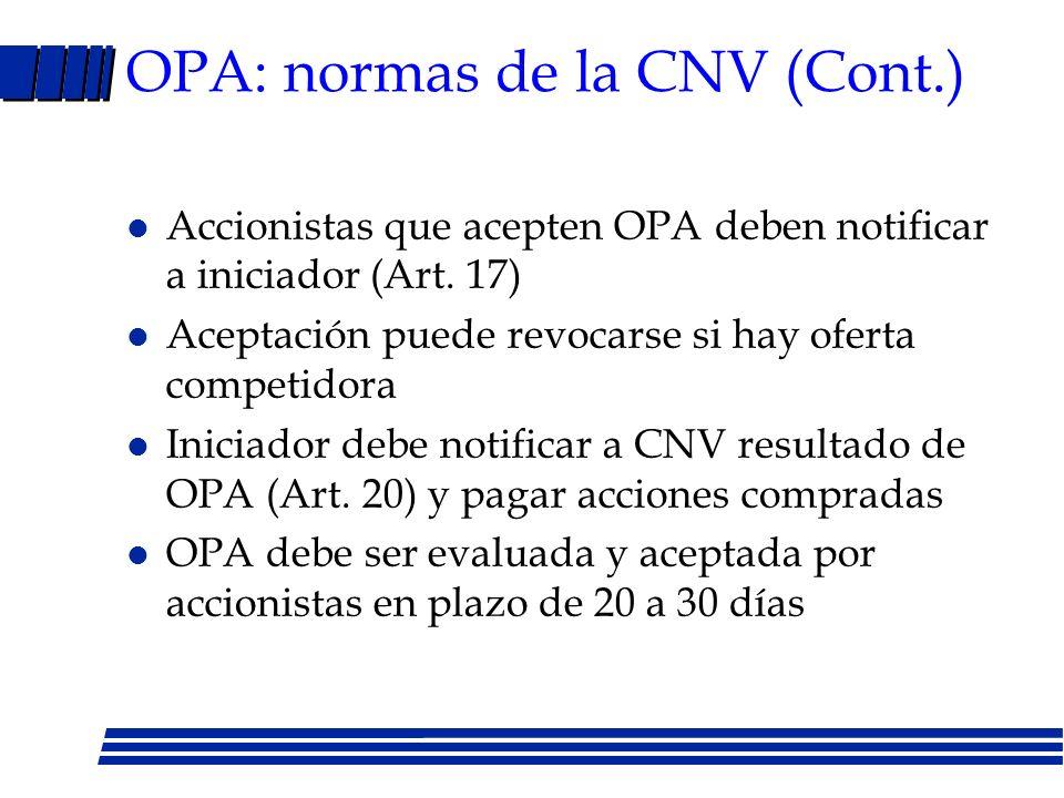 OPA: normas de la CNV (Cont.)