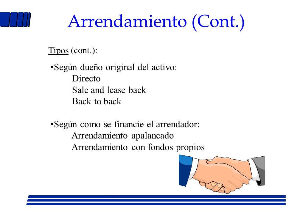 Arrendamiento (Cont.) Según dueño original del activo: Directo