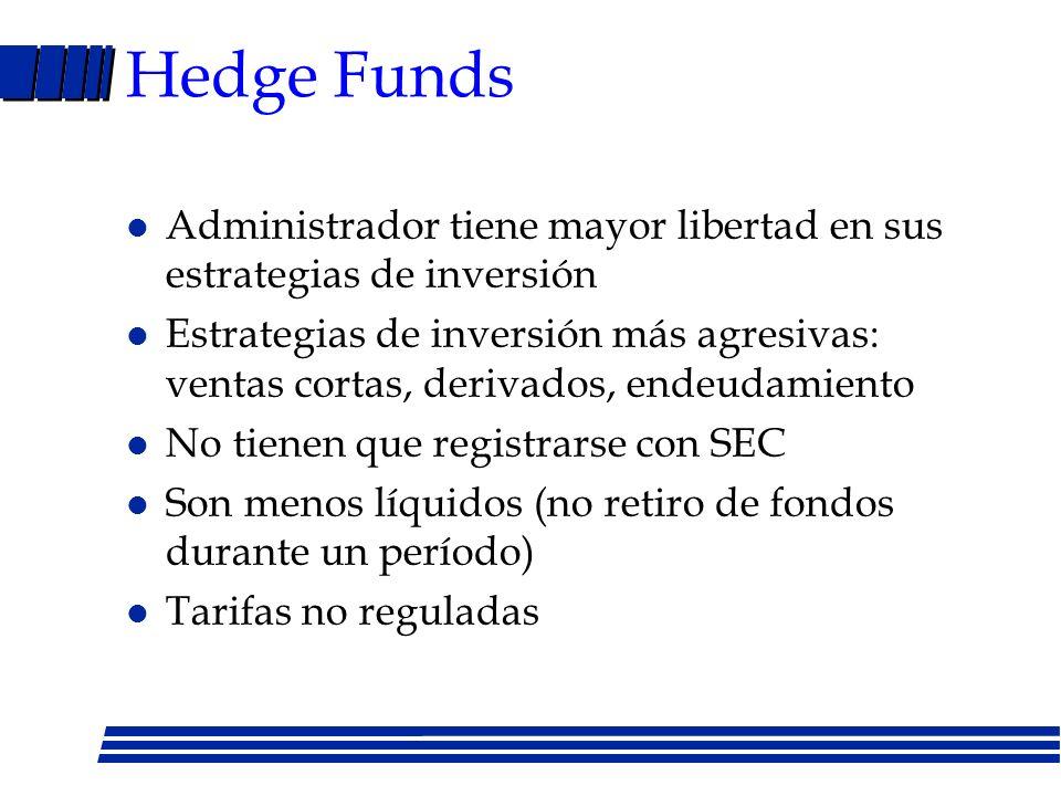 Hedge Funds Administrador tiene mayor libertad en sus estrategias de inversión.