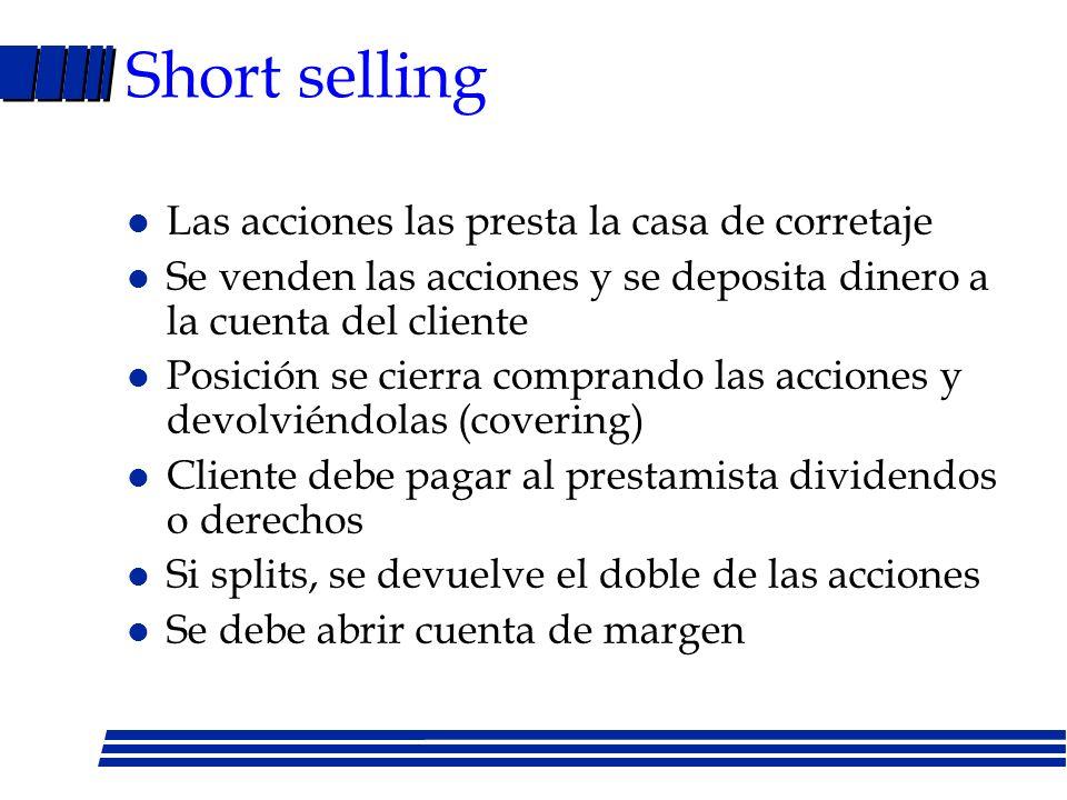 Short selling Las acciones las presta la casa de corretaje