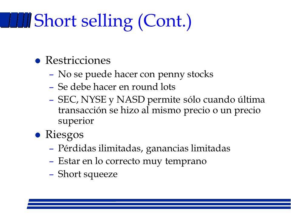 Short selling (Cont.) Restricciones Riesgos