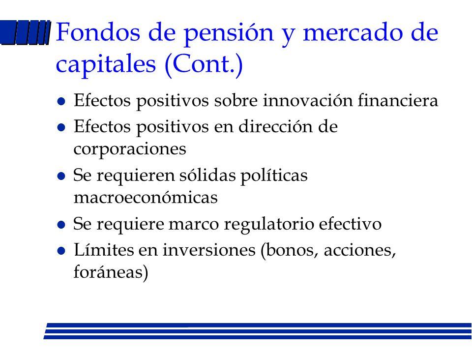 Fondos de pensión y mercado de capitales (Cont.)