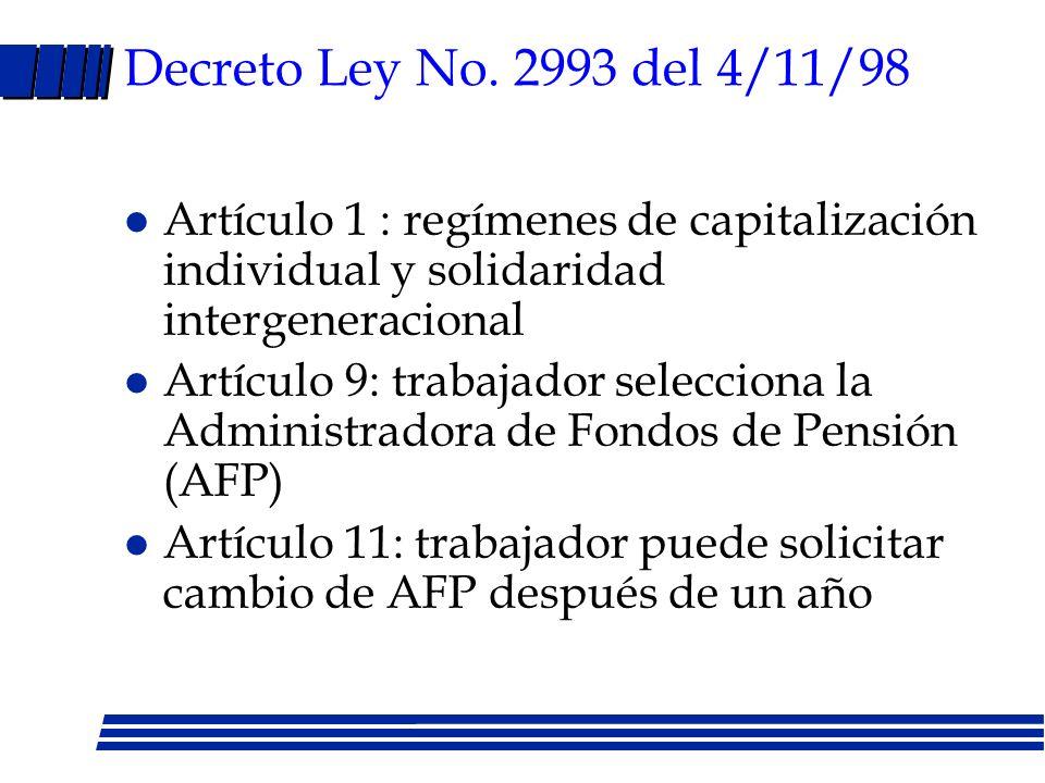 Decreto Ley No. 2993 del 4/11/98 Artículo 1 : regímenes de capitalización individual y solidaridad intergeneracional.