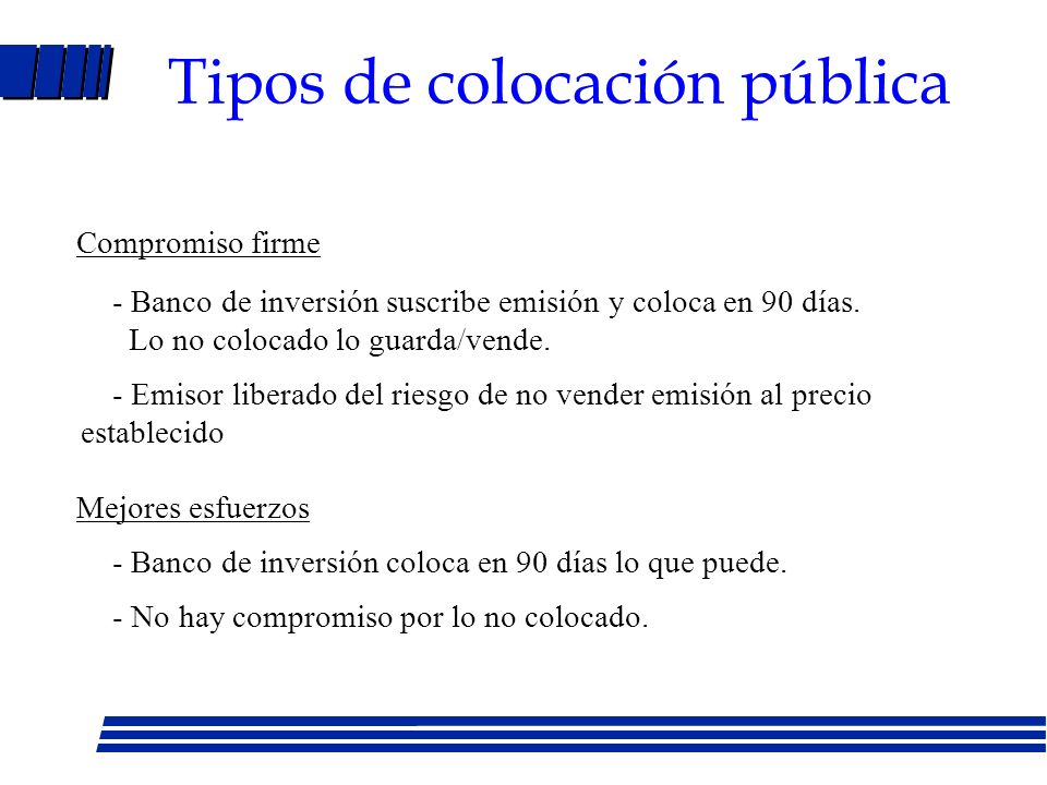 Tipos de colocación pública