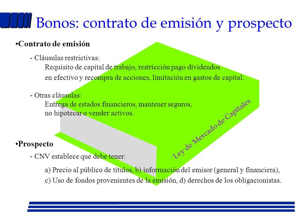 Bonos: contrato de emisión y prospecto